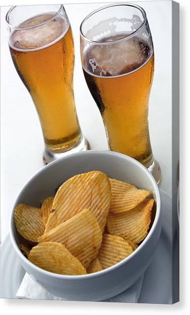 Pint Glass Canvas Print - Beer And Crisps by Tony Craddock