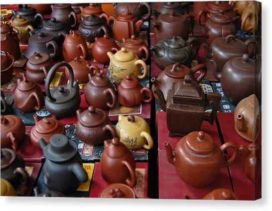 Canvas Print featuring the photograph Beijing Teapots by Margaret Pitcher
