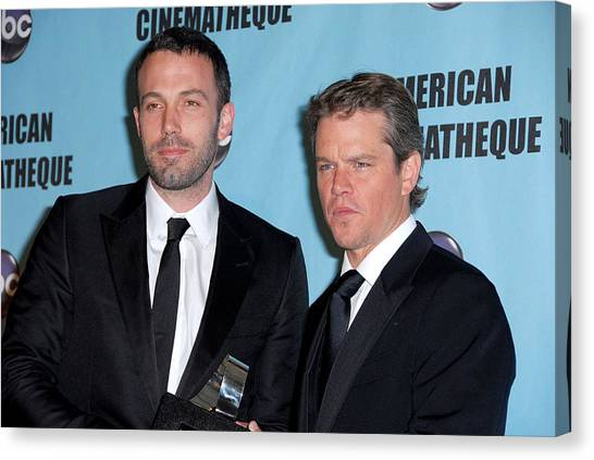 Ben Affleck Canvas Print - Ben Affleck, Matt Damon In Attendance by Everett