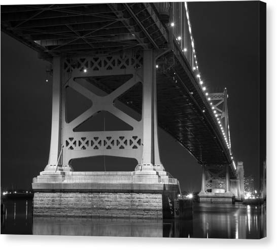 Ben Franklin Bridge Black And White Canvas Print by Aaron Couture