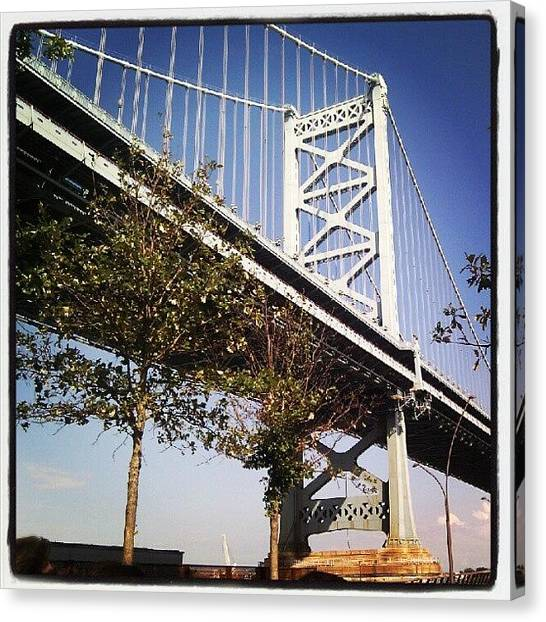 Philadelphia Canvas Print - Ben Franklin Bridge From The Race by Christian Carollo
