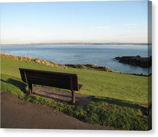 St Ives Canvas Print - Bench In St Ives Cornwall by Thepurpledoor