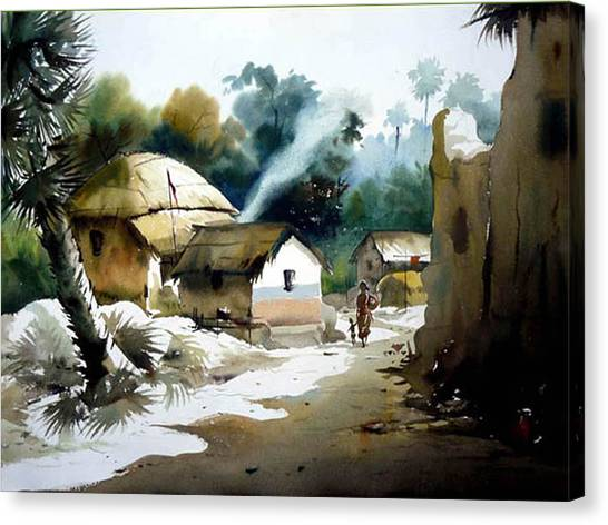 Bengal Village At Noontime Canvas Print