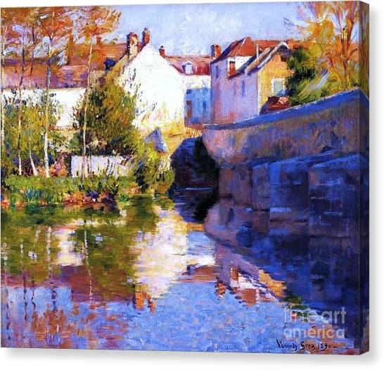 Beside The River - Grez Canvas Print by Pg Reproductions