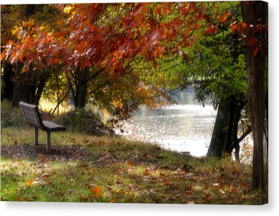 Best Seat On The Bank Canvas Print by Darlene Bell
