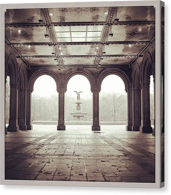 White Canvas Print - Bethesda Terrace by Randy Lemoine