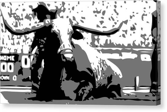 The University Of Texas Canvas Print - Bevo Bw3 by Scott Kelley