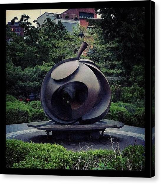 Bronze Canvas Print - Big Apple Sculpture At Christopher by Arnab Mukherjee