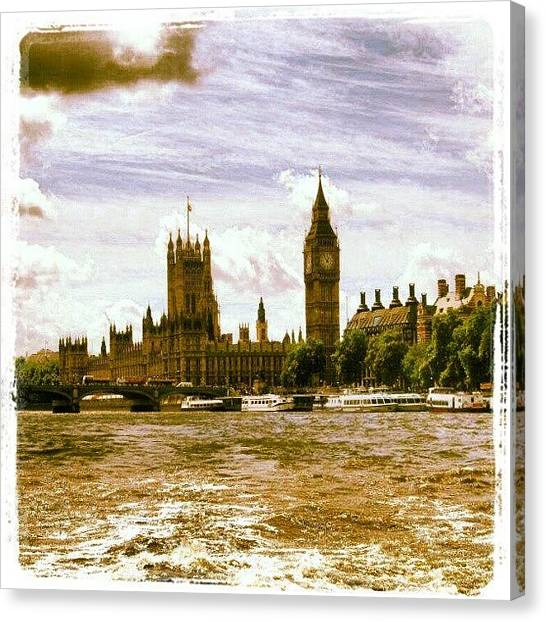 Big Ben Canvas Print - Big Ben From Across The River Thames by Lottie H
