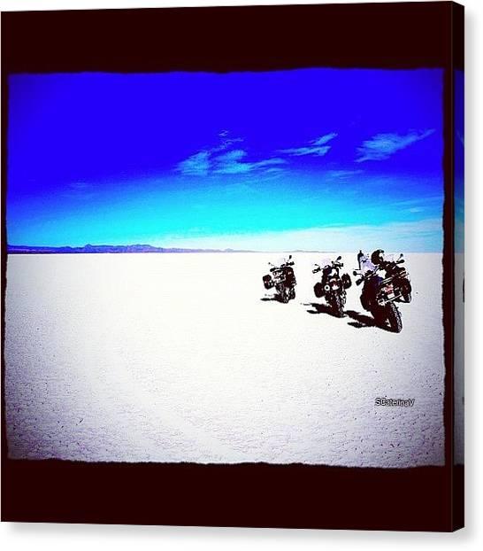 Biker Canvas Print - #bike #sand #sky #cloud #desert #4 by Ekaterina Fast