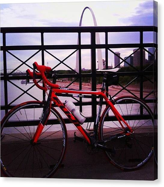 Saints Canvas Print - Bike St. Louis by Anna Beasley