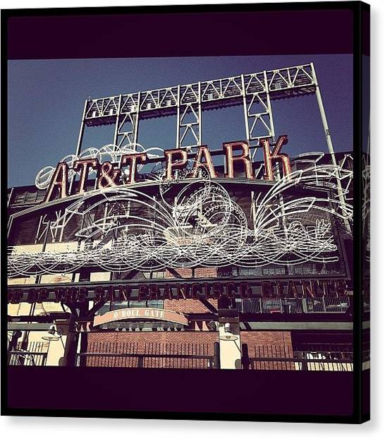 San Francisco Giants Canvas Print - Bike Stop Att Park by Dave Bloom