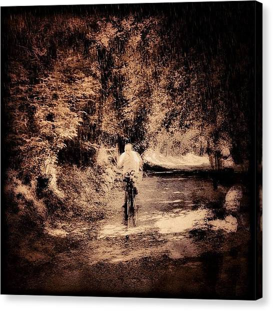 Biker Canvas Print - Biker In The Wood #iphone #instagram by Roberto Pagani