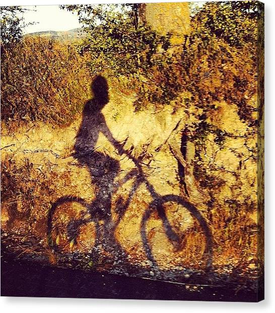 Biker Canvas Print - #biker #mtb #mountainbike #shadow by Simone Montemezzo