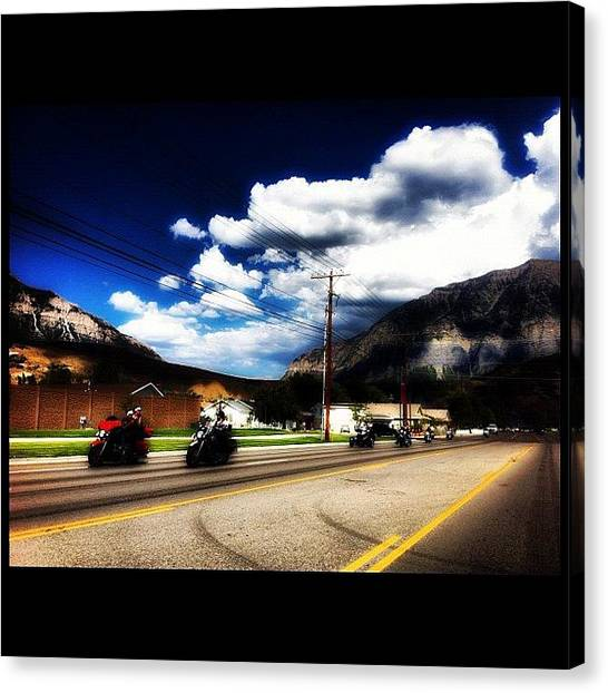 Biker Canvas Print - #bikers #utah by Augie Stardust