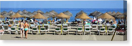 Bikini Girls Beach Umbrellas Costa Del Sol Spain Canvas Print
