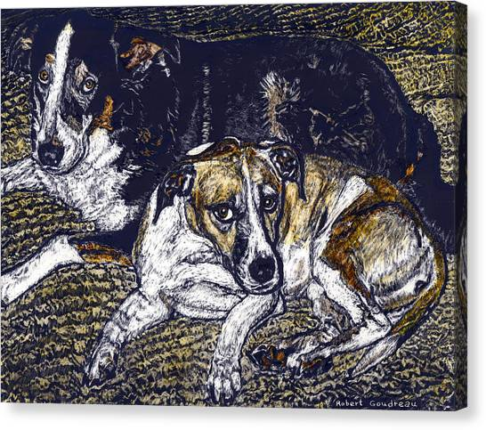 Bill And April Dog Pals Canvas Print by Robert Goudreau