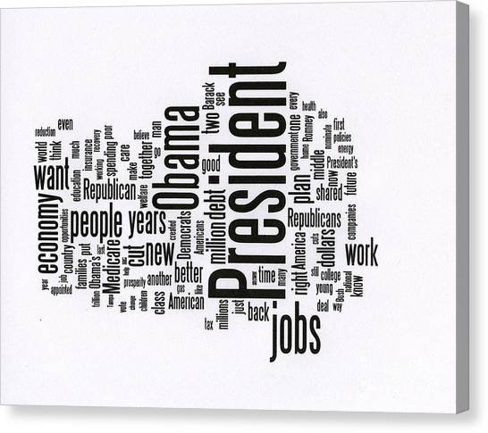 Bill Clinton Canvas Print - Bill Clinton Nominating Wordcloud by David Bearden