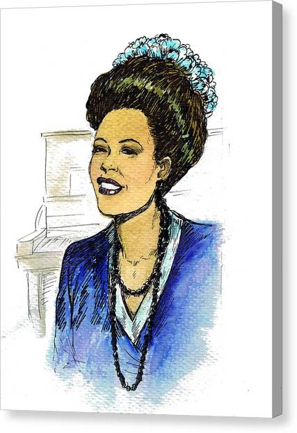 Classic Car Drawings Canvas Print - Billie Holiday 1947 by Mel Thompson
