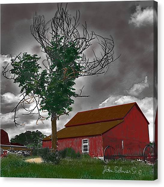 Bills Barn   Red Canvas Print