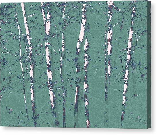 Birch Stand In Seaglass Canvas Print