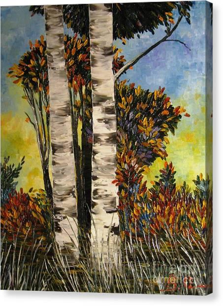 Birches For My Friend Canvas Print