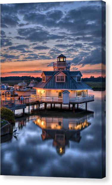 Canvas Print featuring the photograph Bird And Sundown On The Pagan River by Williams-Cairns Photography LLC