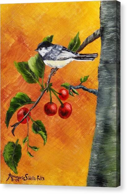 Bird In Chery Tree Canvas Print