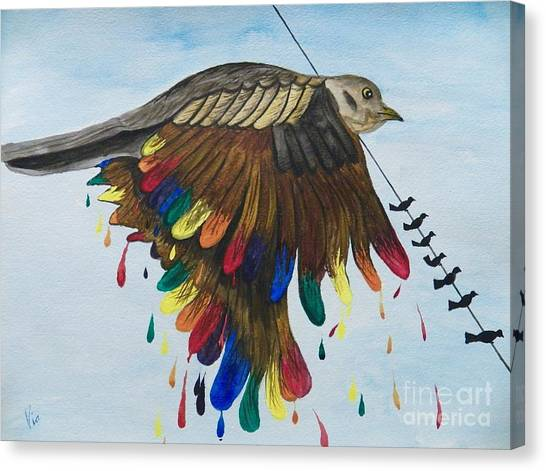 Bird On A Wire Flys Free Canvas Print