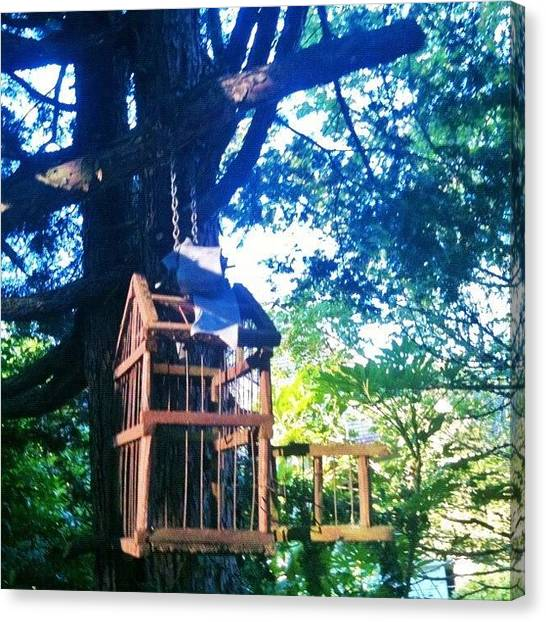 Sunny Canvas Print - Birdcage Above My Reading Bench by Anna Porter