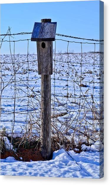 Birdhouse In The Snow Canvas Print by Julio n Brenda JnB