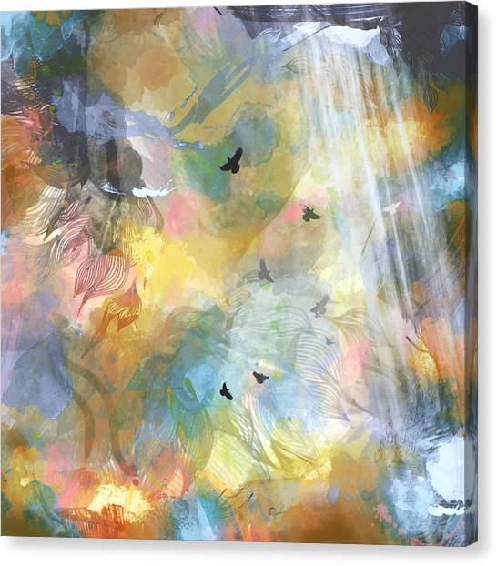 Birds In A Nebula Canvas Print by Carly Ralph