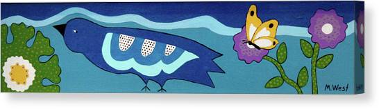 Birdy Eyeing Butterfly Canvas Print by Marilyn West