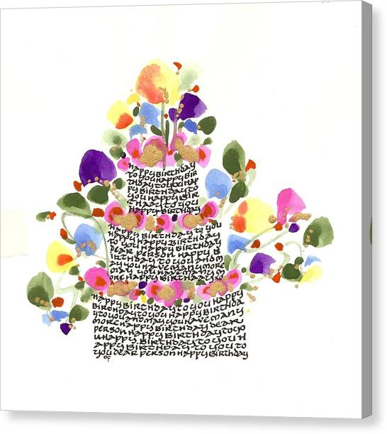 Birthday Cake With Flowers And Words Canvas Print