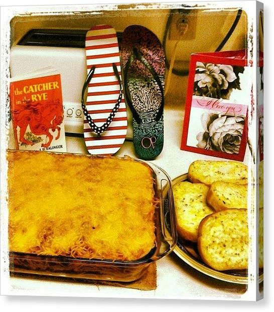 Spaghetti Canvas Print - Birthday Dinner by Holley Jacobs