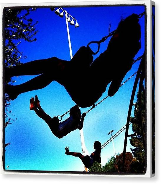 Swing Canvas Print - Birthday Weekend For The Little One by John Schultz