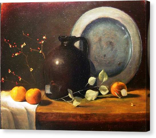 Bittersweet Canvas Print - Bittersweet And Molasses Jug by Tom Jennerwein