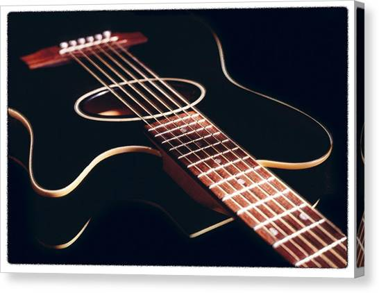 Acoustic Guitars Canvas Print - Black Acoustic Guitar by Mike McGlothlen