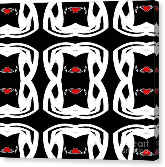 Pattern Black White Red No.92. Canvas Print by Drinka Mercep