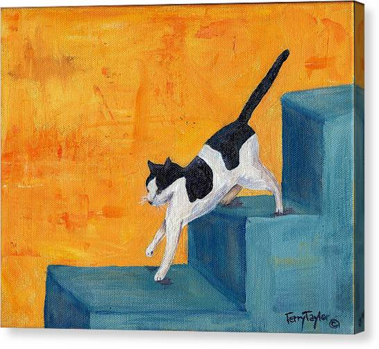 Black And White Cat Descending Blue Stairs Canvas Print