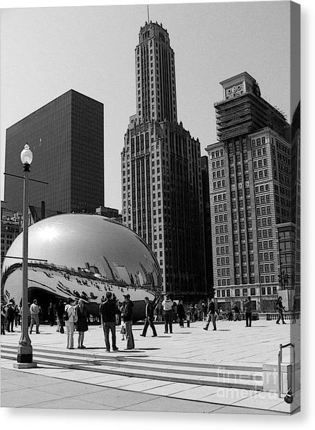 Cloudgate Canvas Print - Black And White Cloudgate by David Bearden