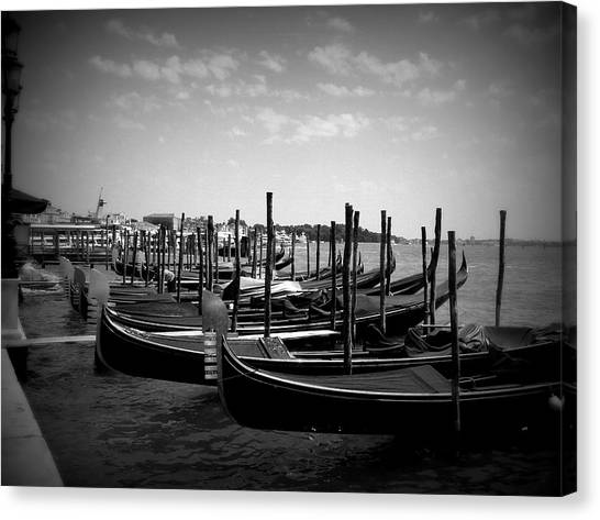 Black And White Gondolas Canvas Print