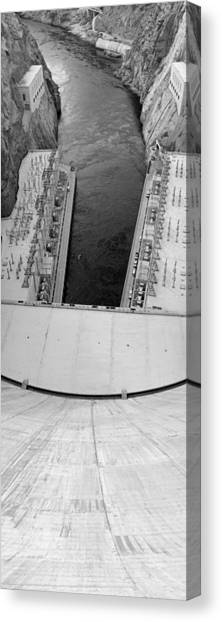 Mountain West Canvas Print - Black And White Hoover Dam by Twenty Two North Photography