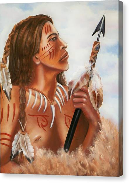 Indian Canvas Print - Black Bear Jr by Joni McPherson