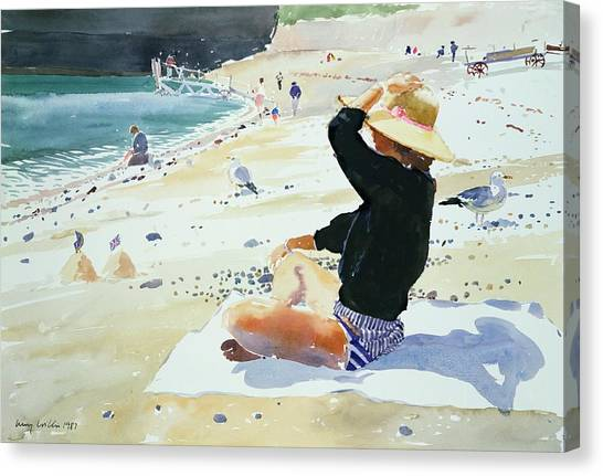 Sand Castles Canvas Print - Black Jumper by Lucy Willis