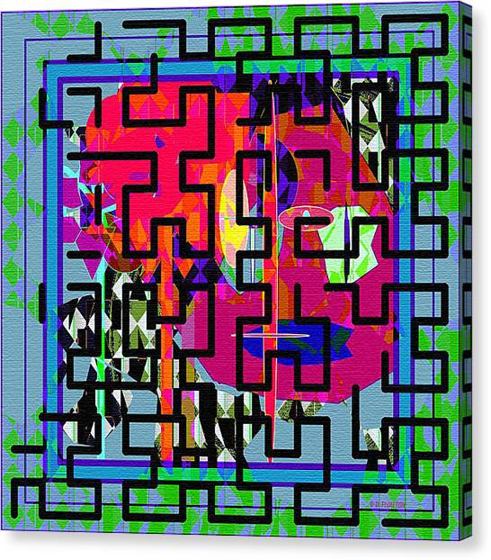 Canvas Print featuring the digital art Black Maze by Dee Flouton