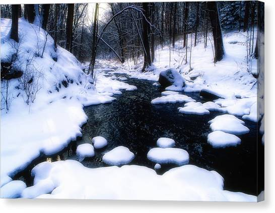 Black River Winter Scenic Canvas Print by George Oze