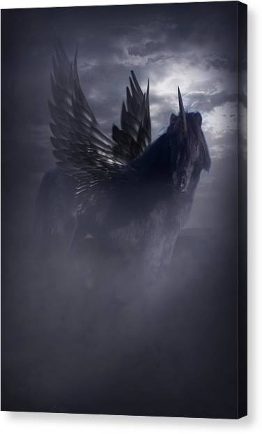 Black Unicorn Pegasus Fantasy Artwork Canvas Print