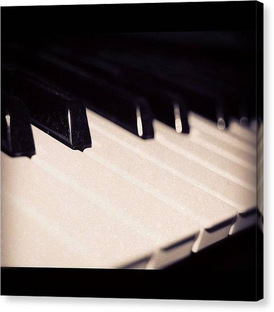 Keyboards Canvas Print - #blackandwhite #black #white #contrast by Heather Wood