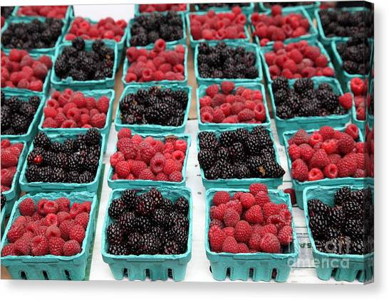 Blackberries And Rasberries - 5d17827 Canvas Print by Wingsdomain Art and Photography
